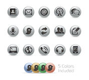 Communications Icons -- Metal Round Series Stock Photos