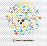 Communications icons. Over dotted background  illustration Stock Photo