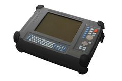 Communications media analyzer, nettest. Device for diagnosing th. E integrity of  optical lines, finding the broken optical cable, measuring the distance to the Royalty Free Stock Photography