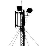 Communications mobiles d'antenne de mât de silhouette Image libre de droits