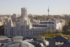 Communications Palace of Madrid. Today is the seat of the Mayor of the City of Madrid stock photography