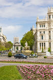Communications Palace from Plaza de Cibeles, Madrid, Spain. Royalty Free Stock Images