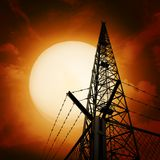 Communications pylon against a blue sky Royalty Free Stock Image