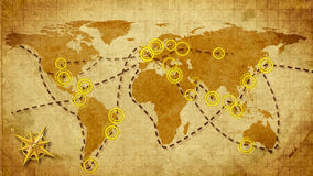 Communications retro style. Retro world map, communication metaphor stock video