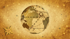 Communications retro style. Retro world map, communication metaphor stock footage