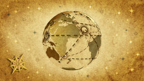 Communications retro style. Retro world map, communication metaphor stock video footage