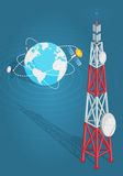 Communications Satellites Transmits to High Tower Royalty Free Stock Images