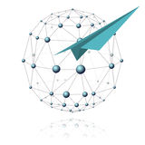 Communications sector and airplane. Communications sector in the form of spheres and blue airplane from a paper on a white background Royalty Free Stock Images