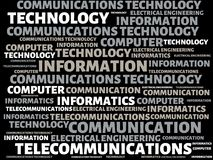 COMMUNICATIONS TECHNOLOGY - image with words associated with the topic COMMUNICATION TECHNOLOGY, word, image, illustration Stock Photos