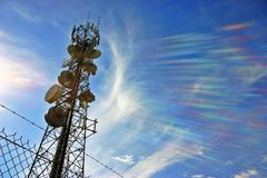 Communications tower. A communications tower for tv and mobile phone signals Stock Photography