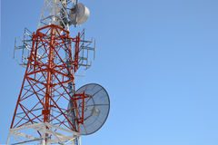 Communications tower. With blue sky Royalty Free Stock Image
