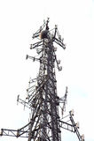 Communications Tower. Communications Microwave or Cell Tower Isolated on White Background Stock Image