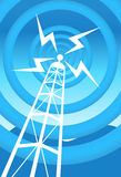 Communications Tower. Image of a radio tower with blue background Stock Photos