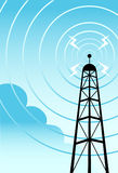 Communications Tower. Image of a radio tower with blue background with clouds Stock Image