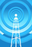 Communications Tower. Image of a communications tower with blue background Royalty Free Stock Photos