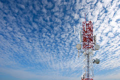 Communications tower. With antennas on blue sky Stock Image