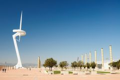Communications tower in Barcelona Stock Photos