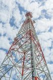 Communications tower. With a beautiful blue sky Stock Images