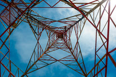 Communications tower with a beautiful blue sky - insight look Royalty Free Stock Image