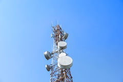 Communications tower with a blue sky Royalty Free Stock Image