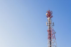 Communications tower with a blue sky Royalty Free Stock Photo