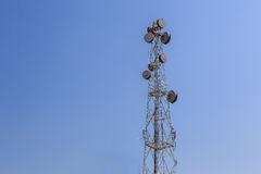 Communications tower with blue sky Stock Images