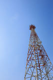 Communications tower with blue sky Stock Photo