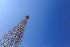Communications tower with blue sky Stock Photos