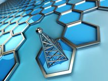 Communications tower and hexagons Stock Image