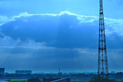 Communications Tower at sunset Royalty Free Stock Images