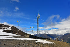 Communications tower at tibet Royalty Free Stock Photos