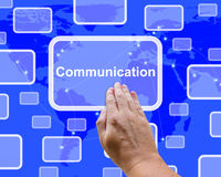 Communications Word On Map Showing Global Networking Stock Image