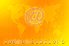 Communications world map. On a binary code orange and yellow background vector illustration