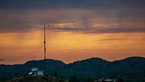 Communications tower at Sunset royalty free stock photo