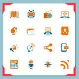 communicaton σειρά εικονιδίων πλαι&s διανυσματική απεικόνιση