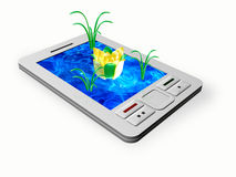 Communicator. With water and flowers on the screen Royalty Free Stock Photo