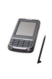 Communicator. Cell phone, communicator, and gps navigator on white background stock image
