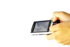 Communicator. Hands with communicator isolated over white background stock photos