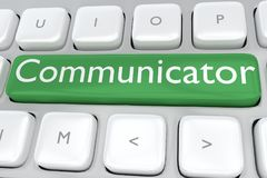 Communicator - information concept. 3D illustration of computer keyboard with the print Communicator on a green button Royalty Free Stock Image