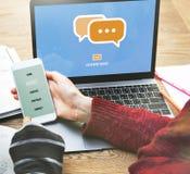 Communiceer Bespreking verbinden Technologieconcept socialiseer stock foto