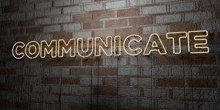 COMMUNICEER - Gloeiend Neonteken op metselwerkmuur - 3D teruggegeven royalty vrije voorraadillustratie royalty-vrije illustratie