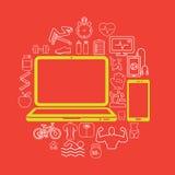 communiceer op PC-gezondheid stock illustratie