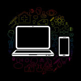 communiceer op PC-gezondheid en medisch vector illustratie
