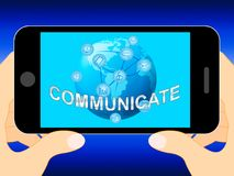 Communiceer toont Globale Mededelingen en Verbindingen 3d Illus vector illustratie