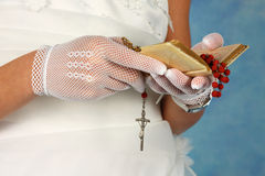 Communion. Young girl making one's first Holy Communion Royalty Free Stock Image