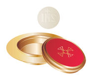 Communion. Isolated golden paten and wafer Stock Photos