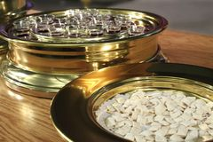 Communion. Elements - bread and wine - body and blood Royalty Free Stock Images