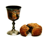 Communion. Holy communion old cup and bread Stock Photos