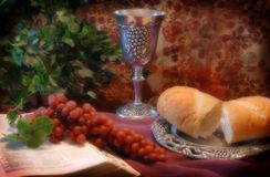 Communion. Is our way of remembering and forgiving Stock Photos
