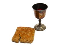 Communion. Unpolished vine cup and bread Stock Photo